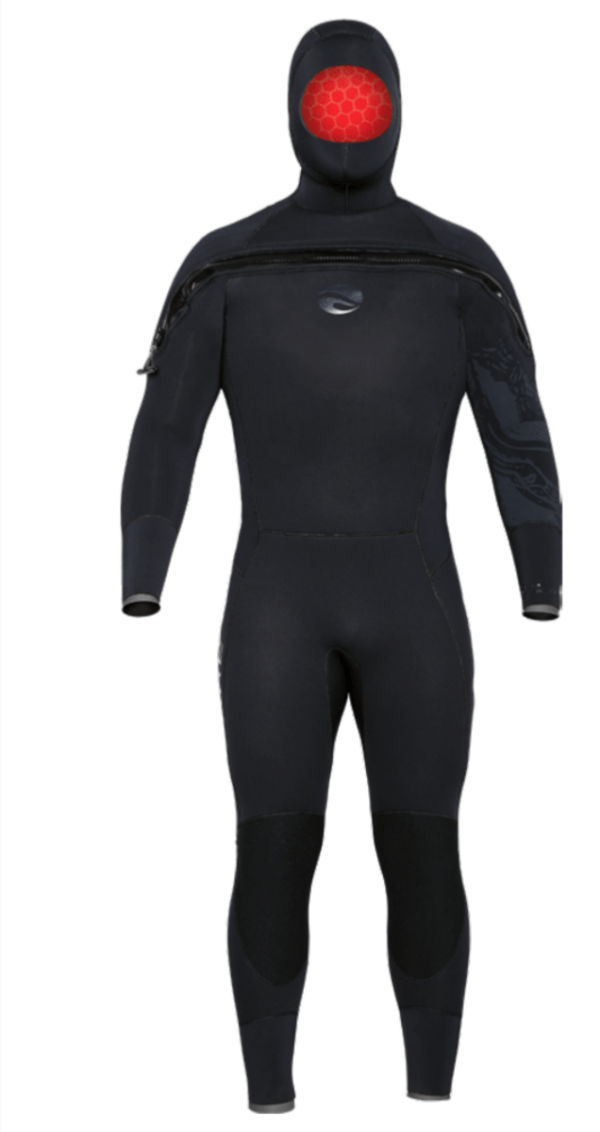 bare 8/7/6 semi-dry wetsuit features an attached hood and across the chest zipper for one of the warmest cold water wetsuit designs possible