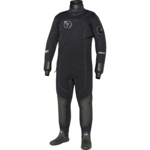 bare xcs2 drysuit all black with neoprene neck and latex wrist seals, attached neoprene boots back entry all black with chest inflator and left arm exhaust valve sitec