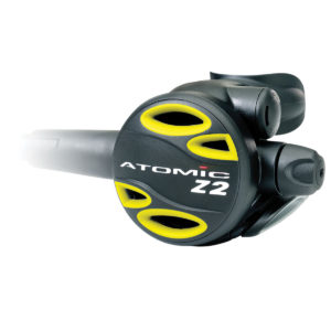 Atomic Aquatics Z2 Octopus Regulator is a safe second stage backup regulator that is yellow for emergency in the event a divers buddy runs out of gas you can pass this off to share your gas with them or in the event your primary regulator fails, your an switch out to the safe second stage