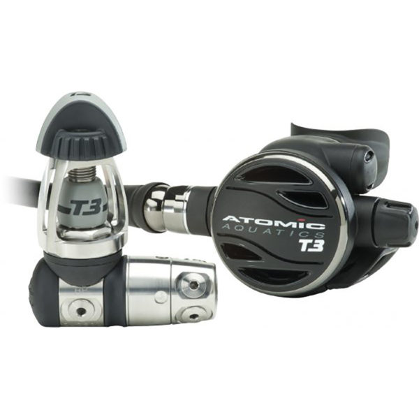 the atomic aquatics t3 regulator features a light weight titanium first stage and second stage with titanium swivel and adjustable breathing