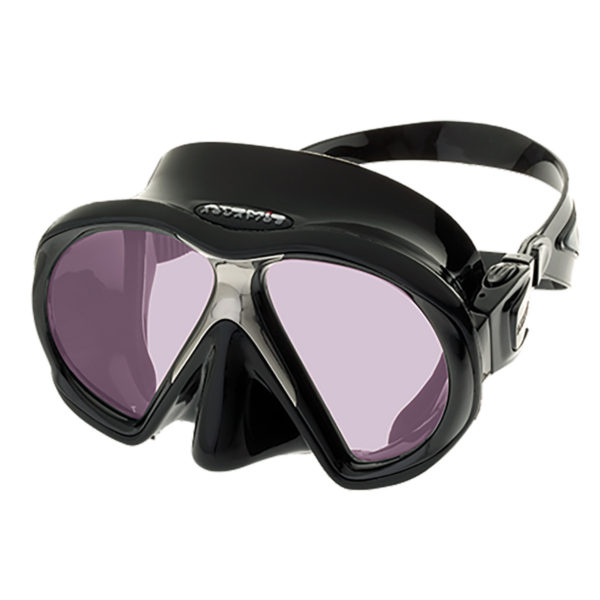 Atomic Aquatic SubFrame ARC Mask features a soft silicone skirt and a stainless steel nose piece to keep the mask lenses and partial frame together. Pink polarized lenses prevent reflection and enhance light by 98.6%