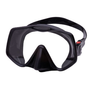 atomic aquatics frameless 2 mask features black silicone skirt and a very thin ultra clear glass viewing pane that acts as the frame for the silicone. mask has an easy to adjust squeeze locking mask strap