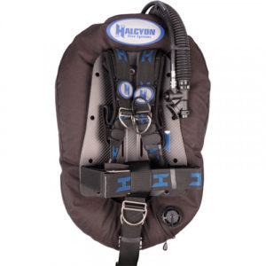 halcyon adventurer pro bcd with cinch harness, carbon fiber backplate and single tank straps