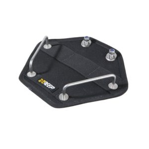 xDeep butt plate for steel tanks with stainless steel rails for securing tanks to the butt plate and stainless grommets to attach the butt plate to harness
