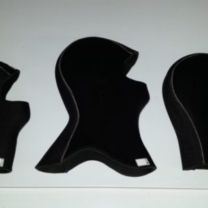 Spyder k01 hood straight neck 5mm, collared neck 8mm and straight neck 8mm black with white stitching