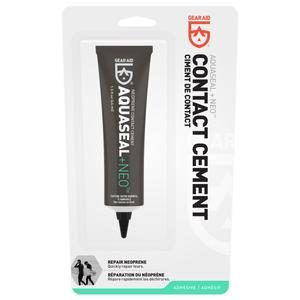 Gear Aid Aquaseal Neo comes in a tube with a black twist cap. It is a black contact cement in a blister pack