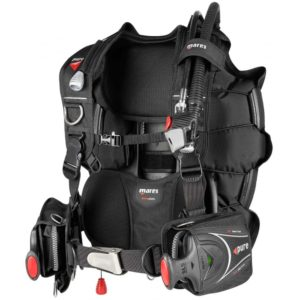 """mares pure sis bcd a simple scuba bcd with 2"""" nylon waist strap, slide lock weight system, back mount buoyancy with a single bcd cam strap"""