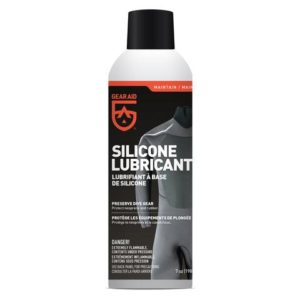 gear aid silicone spray in cfc friendly spray can with grey, black, orange and white colouring with black cap