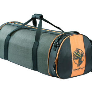 Akona Collapsing Duffel Bag is a mesh dive bag that holds most dive gear with a dual handle that velcro's together with a padded orange Akona lizard regulator bag off the end of the bag