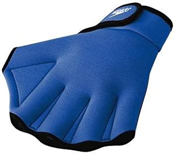 speedo aqua fitness gloves blue with webbed thumb