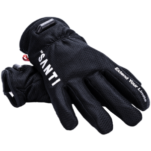 Santi Heated Gloves Black with wires through the fingers and palm with an electrical input on the top of the wrist