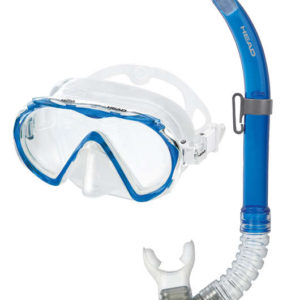 Head Sailfish Semi-dry Combo mask and snorkel set blue single lens silicone mask and blue snorkel with mouthpiece, purge valve and semi-dry top