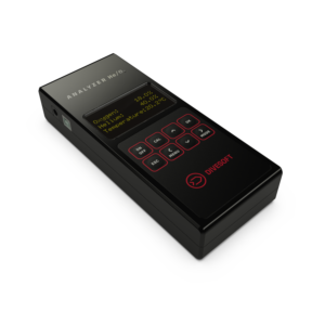 Divesoft Trimix Analyzer black with easy to push buttons and OLED orange font display screen