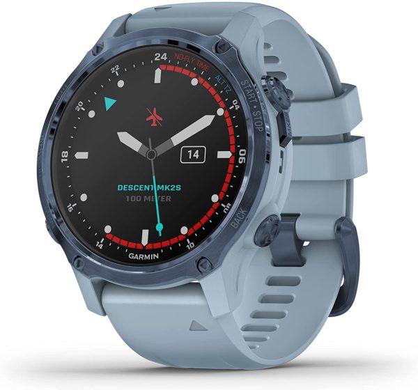 Garmin Descent MK2S Mineral Blue watch casing, black face, mineral blue silicone strap