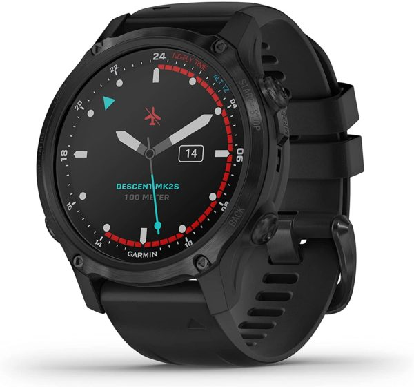 Garmin Descent MK2S black watch with silicone black band small sized face