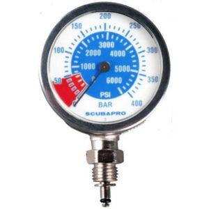 Scubapro Dual Metal Pressure Gauge PSi and Bar