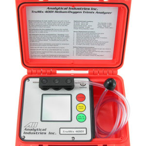 Analytical Industries TruMix 4001 Trimix Analyzer in red dry case with flow tube and flow meter