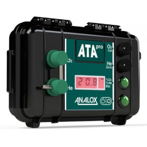 Analox ATA Pro Trimix Analyzer a black dry box with a digital display that allows 2 plastic sensors to screw into the ilid of the box to analyze the mixing contents of a nitrox or trimix fill