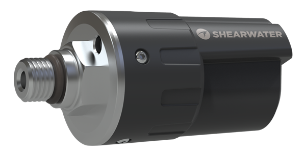 Shearwater Swift Transmitter metal connection to regulator with rugged plastic housing and LED light