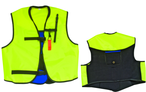 Deluxe Snorkel Vest Jacket neon yellow wrap around snorkel jacket with neoprene back and oral inflate deflate valve