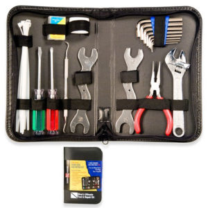deluxe diver tool kit comes in a zippered pouch with screw drivers, wrenches, adjustable wrench, pliers and more to save your dive