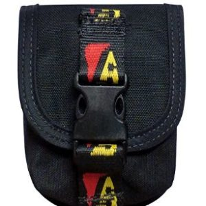 """Dive Rite Travel Weight Pocket holds up to 4lbs of lead in a nylon pouch with a 2"""" nylon webbing velcro attachment on the back and a front closure of velcro with a male female plastic clip and velcro"""