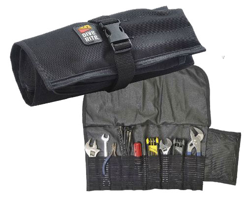 The Dive Rite Tech Tool bag specifically for diving tools. Toolbag holds two crescent wrenches, screwdriver, 1/2 wrench, pick, pliers, nips, tie wraps, o rings and small parts like air spools. Stretch pockets with silicone gripper inside keeps tools in place while a zipper pocket holds o-rings and other small necessities.