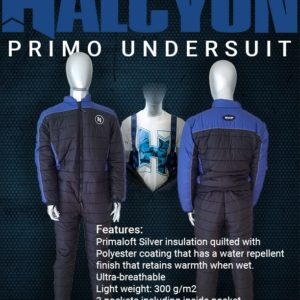 Halcyon Primo Undersuit blue shoulders black body with suspenders and front zipper men's and ladies sizing