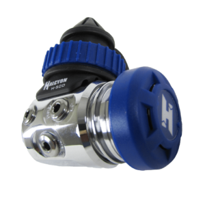 halcyon h-50d regulator first stage din with blue cap and blue din handwheel, non swivel first stage