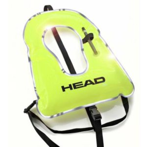 Head Deluxe Snorkelling Vest is bright yellow with an oral inflate mouthpiece and reflective accent pipping around the outside