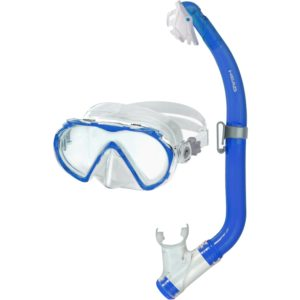 Head Seahorse Pirate Youth Mask And Snorkel Kit Blue single lens mask, snorkel with clip and purge valve dry top