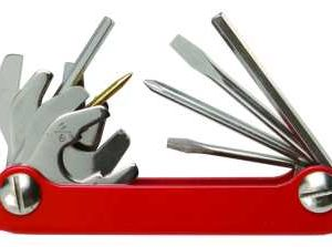 Innovative ScubaToolMaster Multitool contains 11 of the most commonly used tools for repairs. Its compact design makes it perfect to slip into a pocket or dry box. Carry this mini-toolbox wherever you go. Made from high quality 420 stainless steel. Colours: Stainless Steel, Red