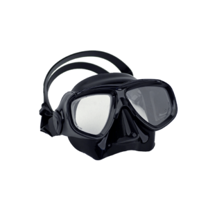 halcyon low profile dual lens mask black silicone black frame standard silicone strap with case