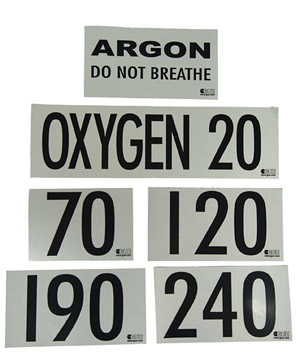 Halcyon MOD Decals black letters on white reflective background for Argon do not breath, oxygen 20, 70, 120, 190 240 and more