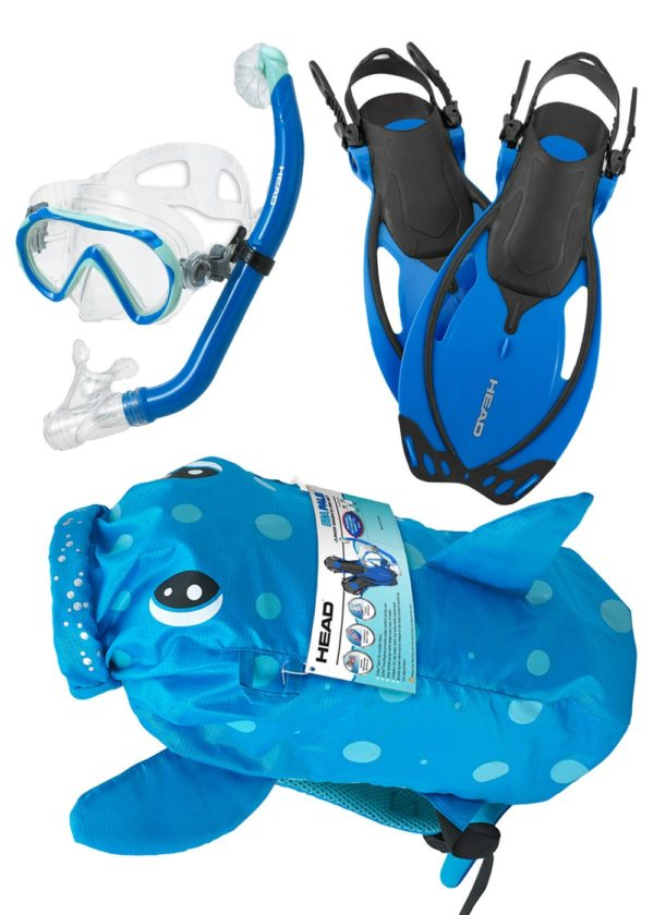 Head Sea Pals Junior Snorkel Set blue spotted puffer fish