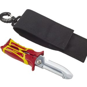oms sk2 scissor knife combines a knife and shears in 1 tool with a black carry pouch