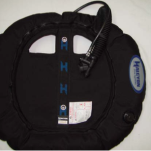 Halcyon Evolve JJ Rebreather Wing black with holes cut in fabric for hoses and hardware