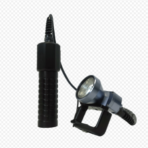 """Halcyon Flare EXP Light compact black knurled canister with 2"""" belt loop with wire going to a grey and black aluminum light head with an on/off switch on top and a comfortable expandable handle"""