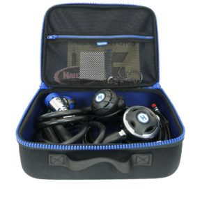 Halcyon Voyager Case is a rectangular zippered bag with blue zipper and carry handle