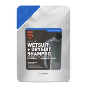 Gear Air Wetsuit and Drysuit Shampoo comes in a reusable plastic bag and cleans wetsuits and drysuits easily when mixed with water