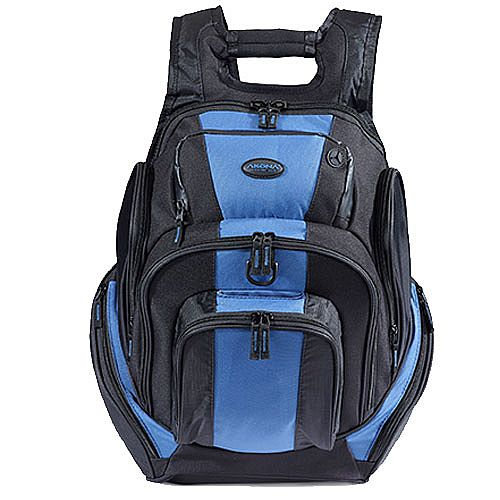 Akona commuter backpack with backpack straps, 2 front accessory pockets and a large main zippered compartment. Black with blue accents