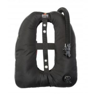 dive rite voyager exp wing black with corrugated bcd hose and inflator