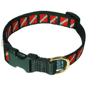 dive flag dog collar has a male female plastic closure, brass ring and dive flags embroidered around the entire collar