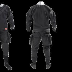Santi Elite Drysuit black with thigh pockets, flex sole boot latex neck and wrist