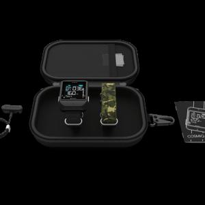 DeepBlu COZMIQ+ Gen 5 Dive Computer with black body, zippered protective case, charter and nylon wrist strap