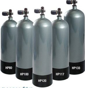 Faber LP108 Scuba Tank grey tank with rubber tank boot and valve