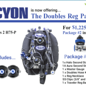 halcyon doubles regulator package choice of h-75p or h-50d first stage, halo second stages and spg with free regulator bag and long hose kit