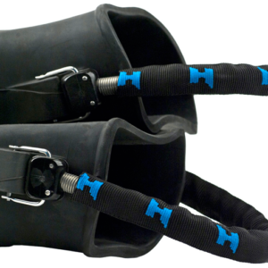 halcyon spring heel straps with stainless steel spring, delrin buckle post, brass fin pins and a black nylon with halcyon H logo's around the nylon strap cover