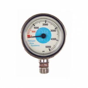 halcyon stage spg brass gauge, no hose, psi, plastic lens