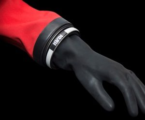 Kubi Dry Glove System Standard Range removable cuff ring system on latex wrist seal
